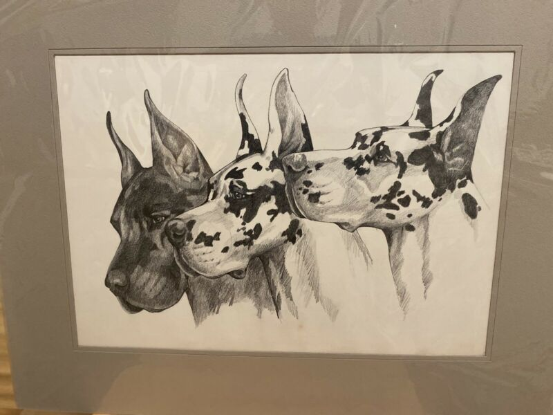 Great Dane Trio Of Heads Original Graphite By Van Loan