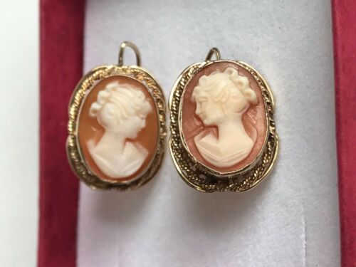 Antique / Vintage 14k yellow gold Cameo earrings very solid