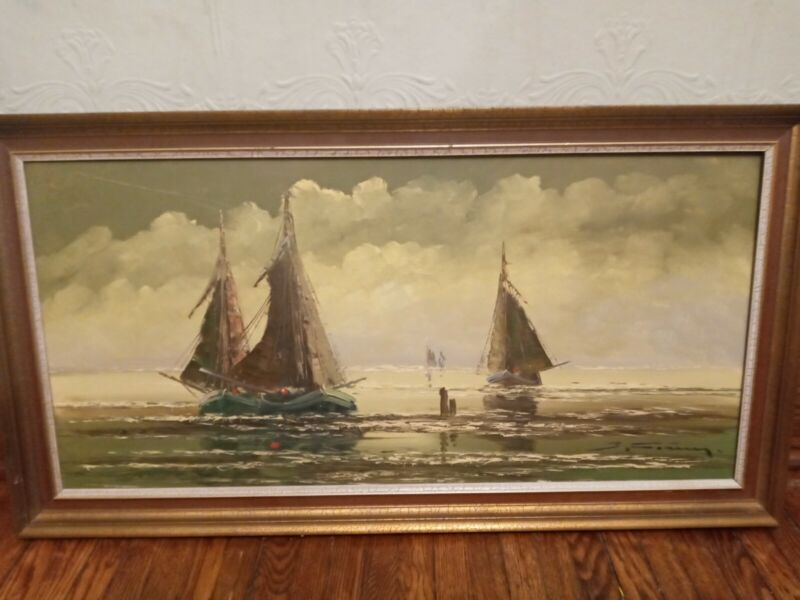 Vintage Oil Painting IMPRESSIONISM NAUTICAL SAILBOATS BOATS SAILING SEA
