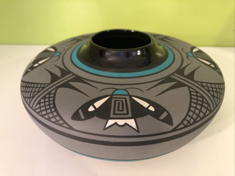 "Native American B. Nez Kopa Pottery Turquoise Grey Butterflies Geometric, 8"""