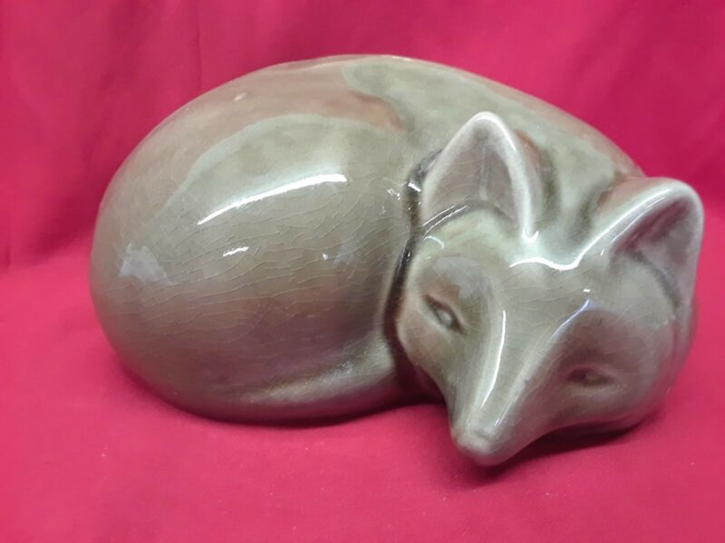 Fox Laying Down Curled Up Sleeping Ceramic Animal Statue Smart Old Fox Foxes