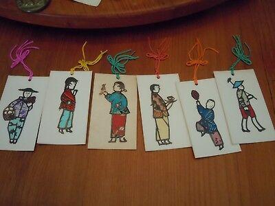 Six Vintage Embossed Asian Figures Gift Cards /Tags W/ Tassel