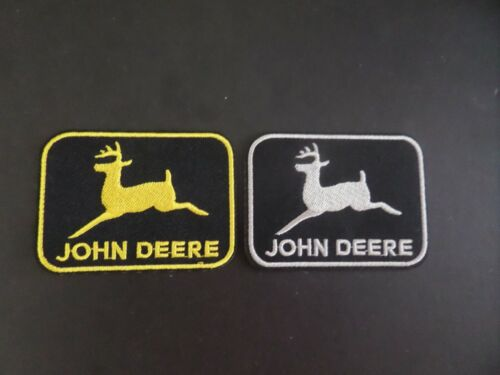 LOT OF 2-JOHN DEERE EQIPMENT  EMBROIDERED IRON ON PATCHES 2-1/4 X 3