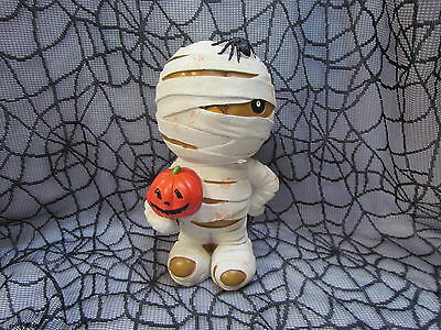 New 10 Tall Hard Plastic Halloween Mummy Figure with Pumpkin and Spider (Plastic Pumpkin)