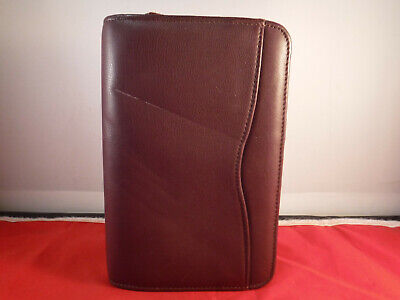 Fc15 Vtg Day Timer Planner Burgundy Leather 6-ring Binder Organizer Ziparound