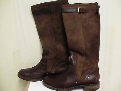 Women's Ugg Australia Castille Size 8.5 Brown Leather Fashion Knee-High Boots