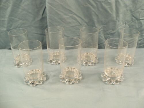 """Set Of 7 Imperial Clear Glass Candlewick Juice Glasses Tumblers 4"""" Tall"""