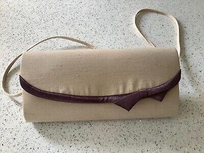 Jacques Vert Beige/Mauve Purple Bag Wedding/Occasion