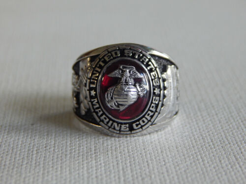 Balfour Silver Tone Oval Red Stone USMC United State Marines Corps Ring Sz 10