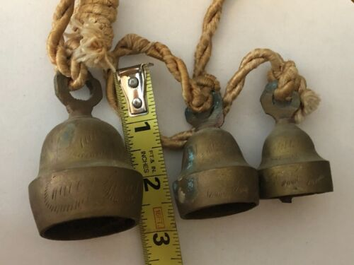 Antique Lot of 3 Etched Brass Temple Sleigh Bells