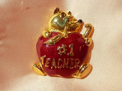 #1 Teacher Cute Vintage 1980's Disney Signed Red Apple Enamel Pooh Brooch 248JN8