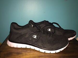 black & white champions lace up running shoes