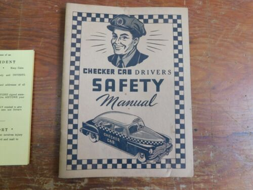 Vintage 1954 Checker Cab Drivers SAFETY Manual