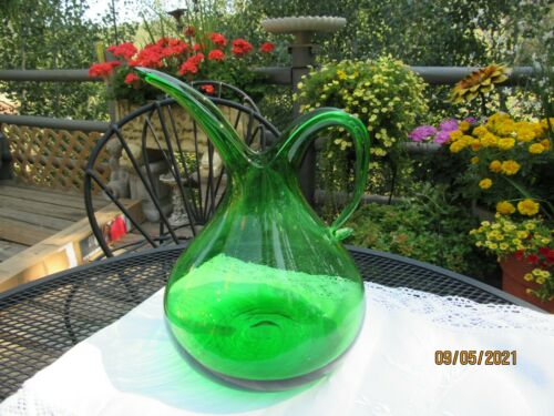 VINTAGE LE SMITH MURANO BLOWN ART  GLASS PITCHEREMEREALD GREEN BEAUTIFUL MCM