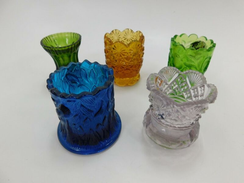 Lot of 5 Vintage Glass Toothpick Holders, Salt Dips, Small Vases #R-2-1-06