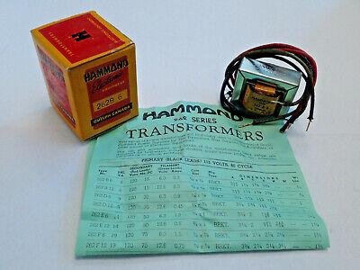Hammond 262b6 Plate Filament Transformer Pri 115vac Sec 120vac 7va 43ma New