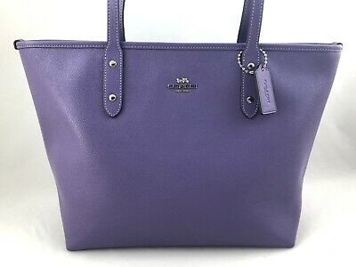 New Authentic Coach F58846 Leather Zip Top City Tote Shoulder Bag - Light Purple