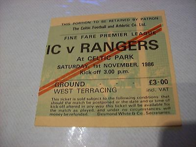 CELTIC V RANGERS MATCH TICKET STUB SCOTTISH LEAGUE 1 NOVEMBER 1986