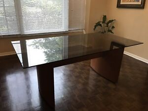 Teak and glass dining room table
