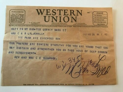 Vintage August 28. 1942 Western Union Telegram of Sympathy with Envelope
