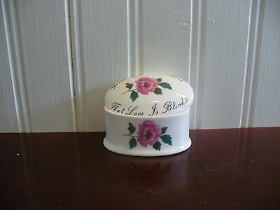 Royal Adderley England Bone China Small Oval Pink Rose Love Is Blind Trinket Box