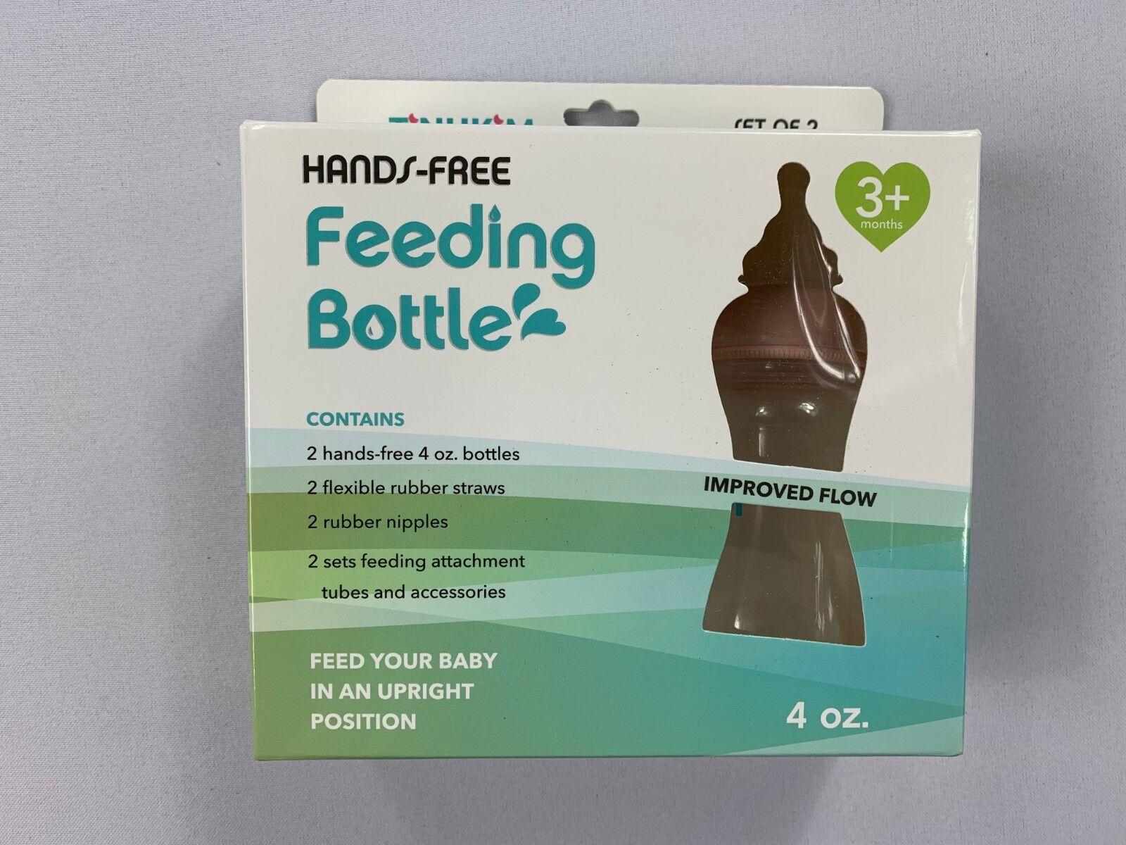 Pink 2 Pack Tinukim Hands Free Baby Bottle Anti-Colic Nursin