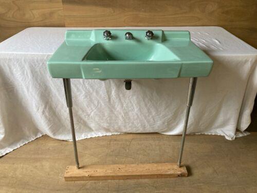 Vtg Jadeite Ming Green Porcelain Console Sink Chrome legs Retro Standard 105-21E