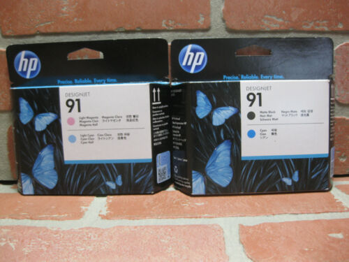 2 - HP 91 Printheads Matte Black Cyan Light Magenta Light Cyan Genuine 2021