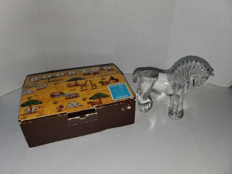 Vintage Boda Zoo Sweden Glass Horse Original Box NOS