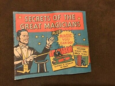 Secrets of the Great Magicians Booklet Vicks Advertising Houdini Tricks C1953
