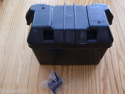 Batteriebox, Batteriekasten mit Gurtband 33 x 18 x 22,5cm aus Kunststoff