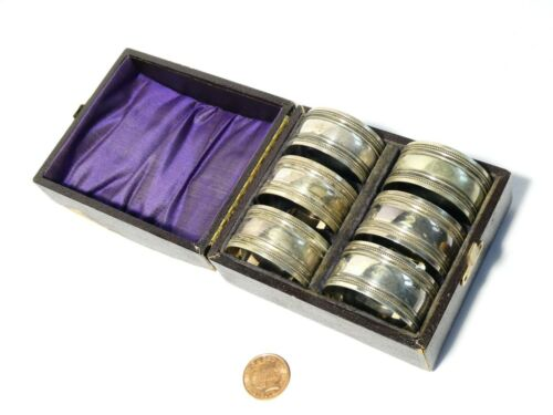 Set of 6 Antique Victorian Silver Plated Napkin Rings Boxed Numbered c1885