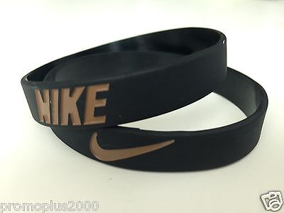 Nike Sport Baller black with Gold Silicone Rubber Bracelet Wristband