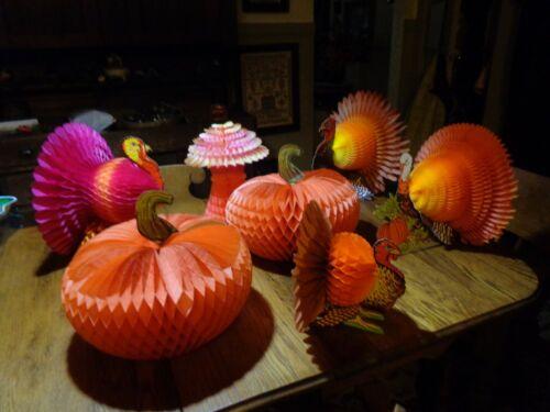 LOT of 4 Vintage Turkey, 2 Pumpkins, 1 hay ~ Paper Honeycomb Decor Thanksgiving