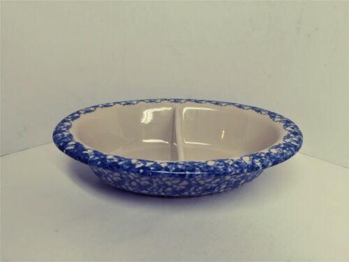 """Gerald E. Henn Roseville Ohio Workshop Blue Spongeware Ceramic Divided Bowl 12""""L"""