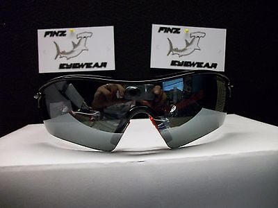 FINZ POLARIZED BASEBALL GOLF SUNGLASSES BLACK-RED / SMOKE (Sick Sunglasses)