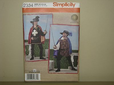 Simplicity costume pattern 2334 sz XS S M musketeer cape puffy shirt hat boots (Musketeer Cape)