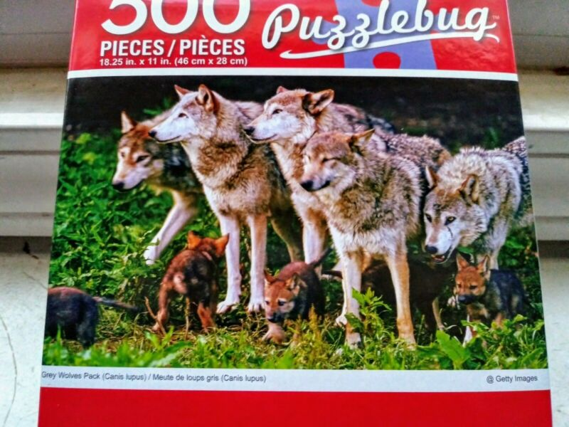 New 500 Piece Jigsaw Puzzle (Grey Wolf Pack with Pups)