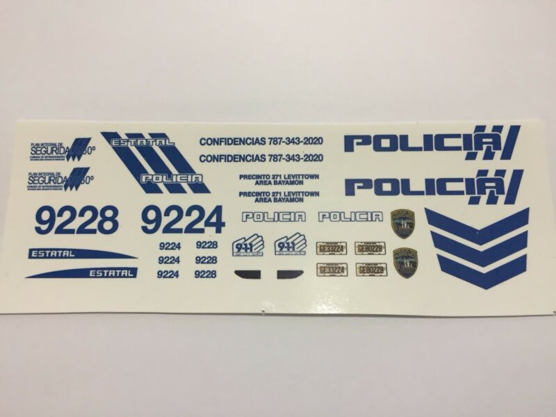 1/24 PUERTO RICO POLICE FORD TAURUS :DECAL SET ONLY. DECAL SET ONLY. PLEASE READ