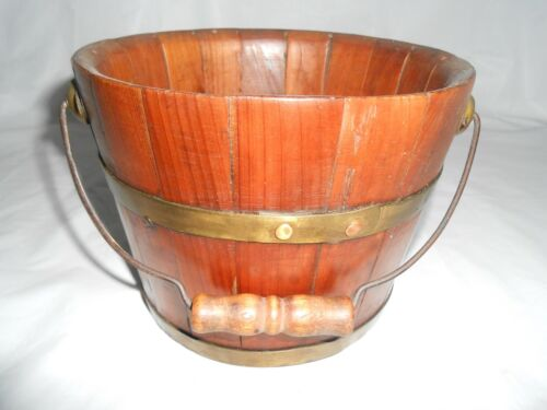 ANTIQUE STAVED WOOD BUCKET PAIL ~ BRASS BANDS ~ METAL BAIL WOOD HANDLE ~ VINTAGE