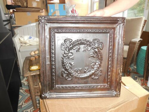Reclaimed Antique Vintage Tin Metal Ceiling Tile Mounted on Wood