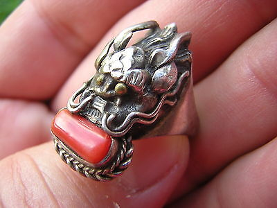VINTAGE ORNATE CHINESE STERLING SILVER + RED CORAL DRAGON HEAD RING