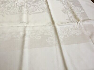 White Iris Floral Jacquard  Cotton linen Dining table Tablecloth