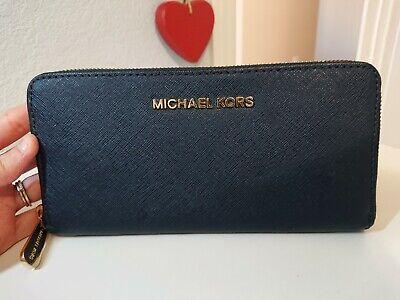 Michael Kors Blue Saffiano Zip Around Wallet