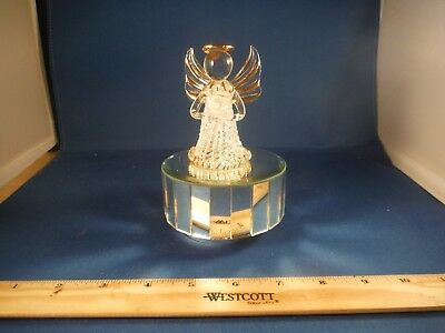 """Dainty Blown Glass & Mirrors Christmas Angel With Dove """"Canon In D"""" Music Box"""