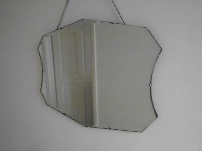 30s ART DECO LARGE FRAMELESS BEVEL EDGED GLASS WALL MIRROR BACKING