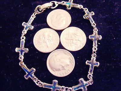 bling silver plated cross CRUCIFIX abalona paua shell FASHION bracelet JEWELRY