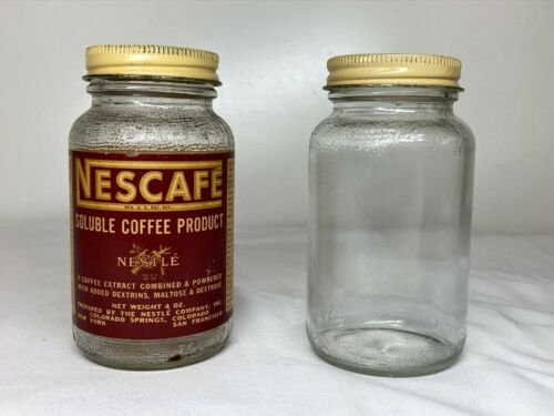 2 Vintage NESCAFE SOLUBLE INSTANT COFFEE PRODUCT JARS w LIDS Paper Label NESTLE