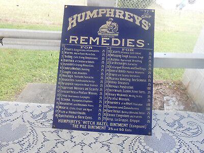 VTG Humphreys Remedies Porcelain Enamel Advertising Sign Ande Rooney USA Made