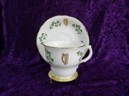 Arklow Ireland Shamrock Bone China Tea Cup and Saucer